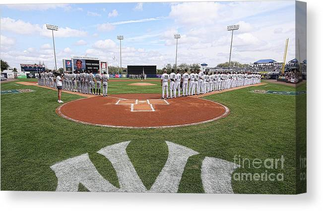 People Canvas Print featuring the photograph Detroit Tigers V New York Yankees by Leon Halip