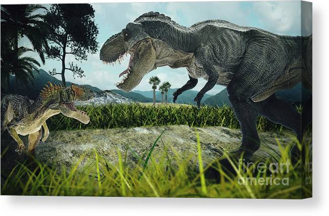 Danger Canvas Print featuring the photograph Dinosaur Scene Of The Two Dinosaurs by Metha1819
