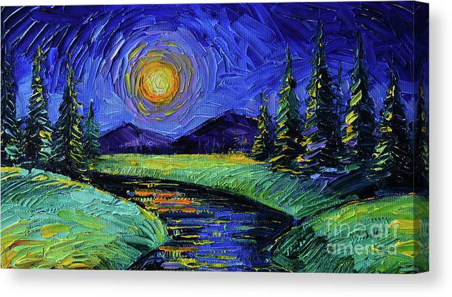 Magic Night Canvas Print featuring the painting Magic Night - Detail 1 - Fantasy Landscape by Mona Edulesco