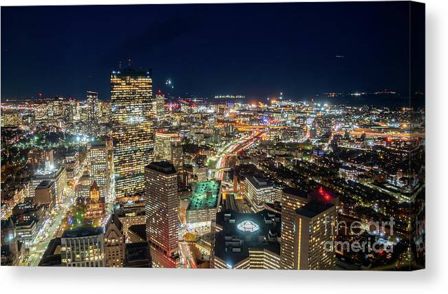 Boston Canvas Print featuring the photograph Panoramic View Of The Boston Night Life by PorqueNo Studios