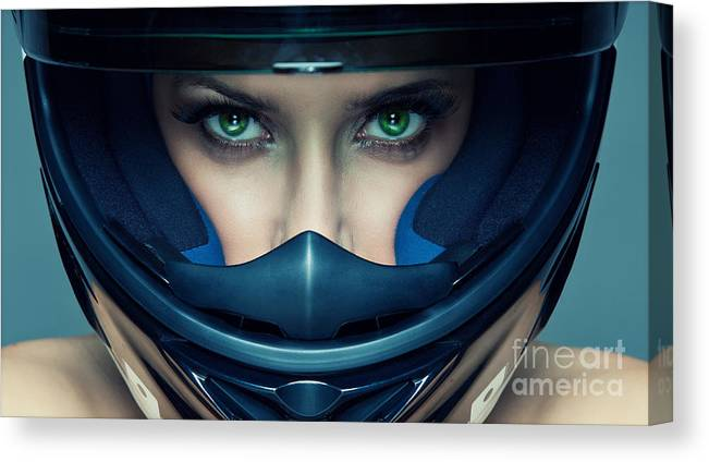 Studio Canvas Print featuring the photograph Sexy Woman In Helmet On Blue Background by Kiuikson