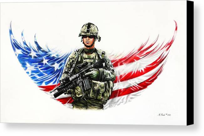 Patriotic Canvas Print featuring the drawing Americas Guardian Angel by Andrew Read