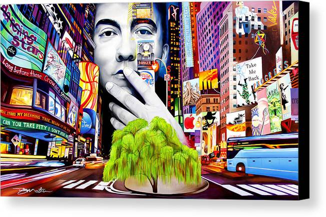 The Dave Matthews Band Canvas Print featuring the painting Dave Matthews Dreaming Tree by Joshua Morton