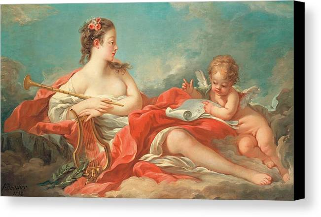 Erato; Female; Muse; Love; Poetry; Rococo; Female; Personification; Poet; Poem; Reading; Cupid; Eros; Putto; Reclining; Clouds; Lyre; Harp; Trumpet; Music; Musical Instrument; Musical Instruments; Inspiration; Nude; Drapery; Pink; Blue; Classical; Myth; Mythology; Mythological Canvas Print featuring the painting Erato The Muse Of Love Poetry by Francois Boucher
