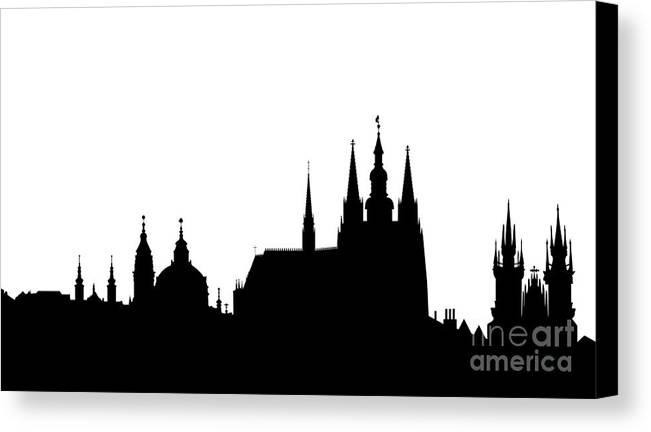 Hradcany Canvas Print featuring the digital art famous landmarks of Prague by Michal Boubin