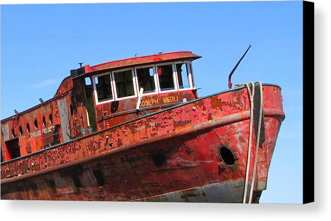 Escanaba Canvas Print featuring the photograph Fireboat by Penny Parrish