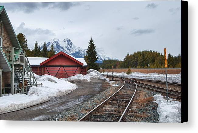 Guy Whiteley Photography Canvas Print featuring the photograph Lake Louise Depot by Guy Whiteley