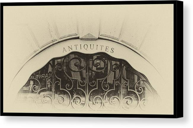 Antique Canvas Print featuring the photograph Paris Antique Store Sign by Tony Grider
