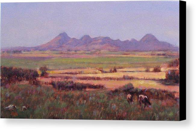 Mountain Canvas Print featuring the painting Sutter Buttes In Summer Afternoon by Takayuki Harada