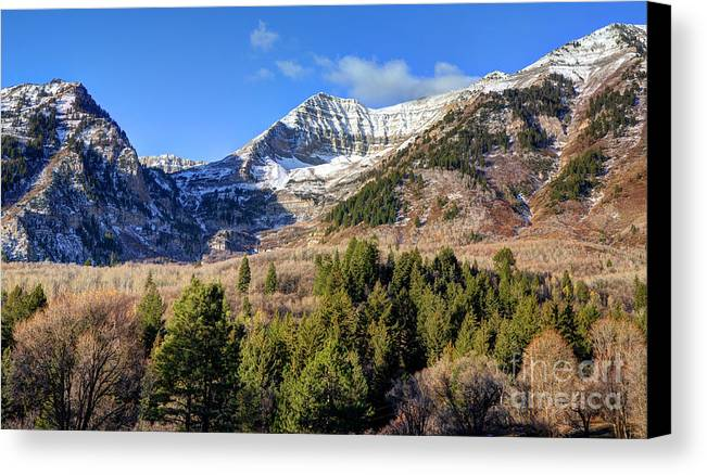 Snow Canvas Print featuring the photograph First Snow On Mt. Timpanogos - Utah by Gary Whitton