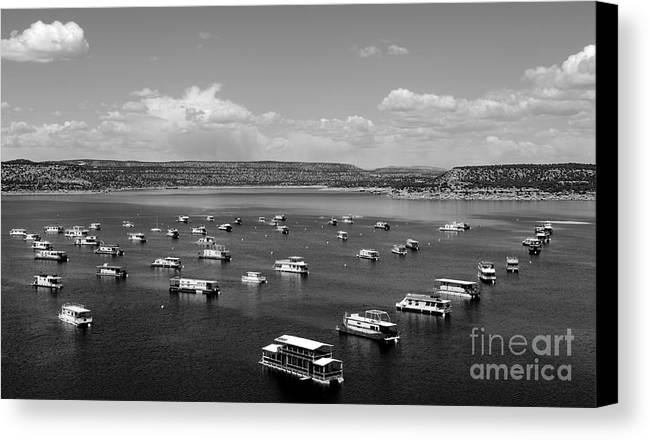 Houseboats Canvas Print featuring the photograph Houseboat Community by Chad Bennett