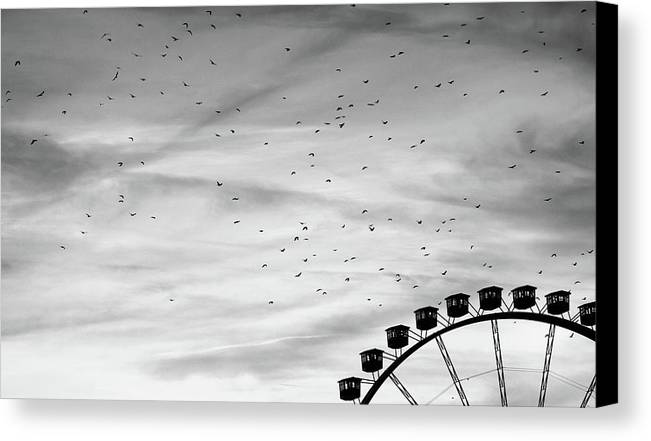 Horizontal Canvas Print featuring the photograph Many Birds Flying Over Giant Wheel In Berlin by Image by Ivo Berg (Crazy-Ivory)
