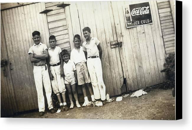 Digitized Canvas Print featuring the photograph Vintage Coca Cola Kids by Alan Espasandin