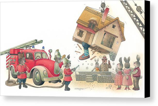 Fireman Rabbit Event Accident Red Canvas Print featuring the painting Rabbit Marcus The Great 15 by Kestutis Kasparavicius
