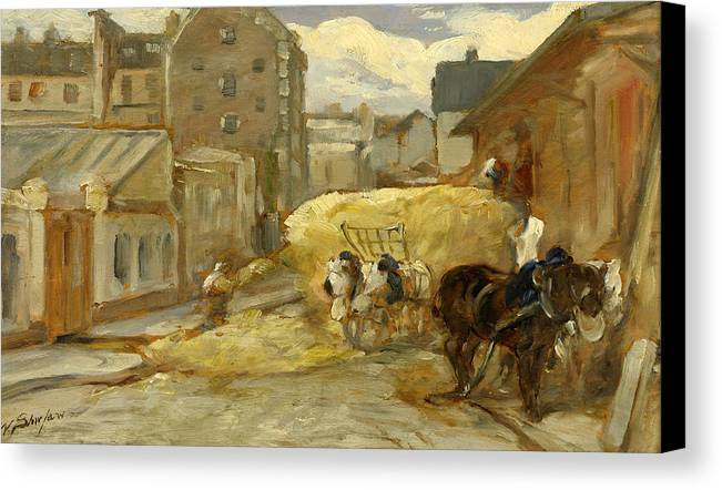 Walter Shirlaw Canvas Print featuring the painting The Hay Cart by Walter Shirlaw