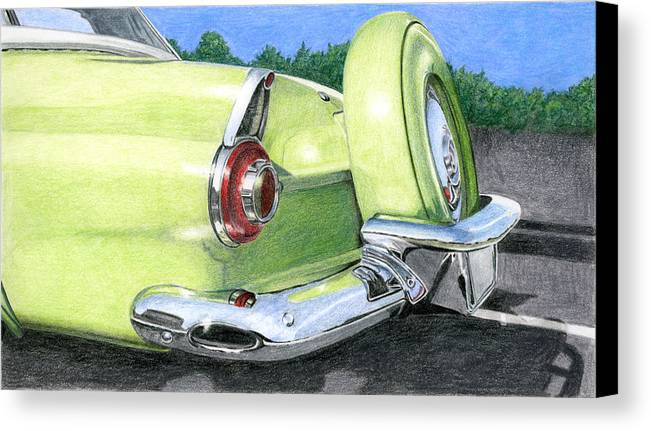 Classic Canvas Print featuring the drawing 1956 Ford Thunderbird by Rob De Vries