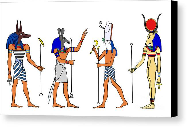 Relief Canvas Print featuring the drawing Egyptian Gods And Goddess by Michal Boubin