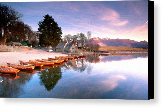 At Canvas Print featuring the digital art Painted Landscape by Usa Map
