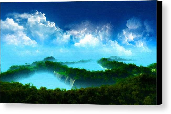 Landscape Canvas Print featuring the digital art Landscape Oil Painting On Canvas by Usa Map