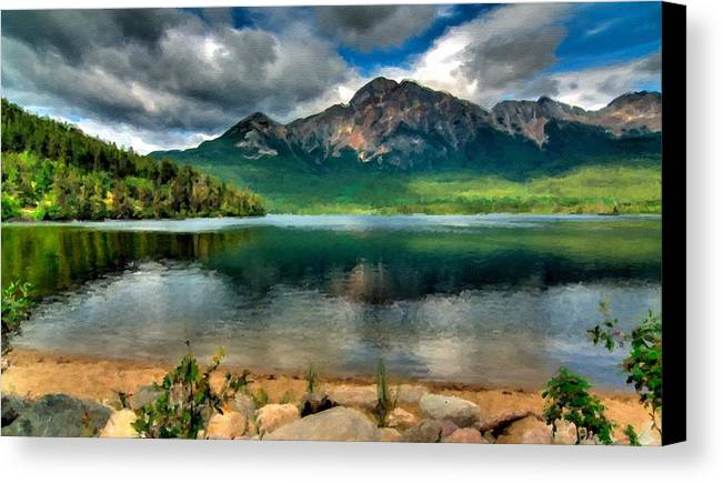 P Canvas Print featuring the digital art Landscape Fine Art by Usa Map
