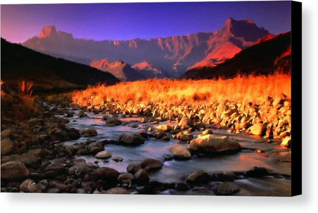 Pictures Canvas Print featuring the digital art Romantic Landscape by Usa Map