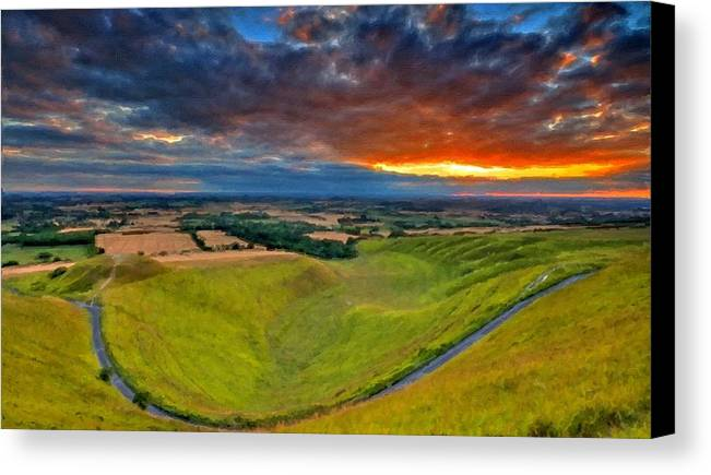 Paint Canvas Print featuring the digital art Landscape Paintings by Usa Map