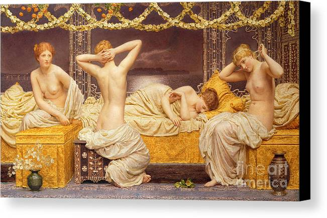 Female; Woman; Nude; See; Classical; A Summer Night Canvas Print featuring the painting A Summer Night by Albert Joseph Moore
