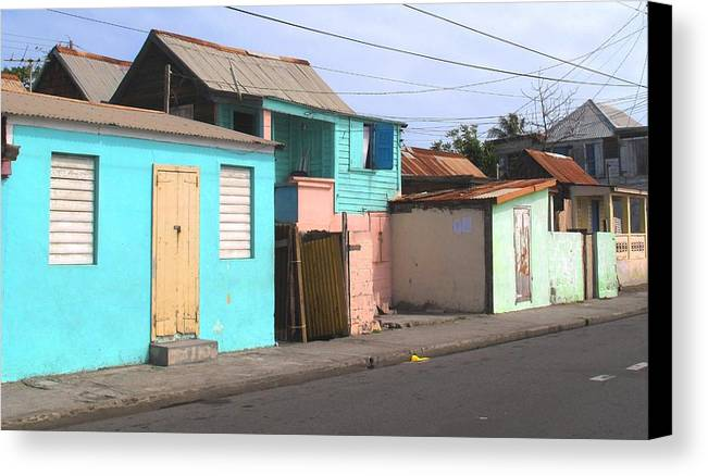 St Kitts Canvas Print featuring the photograph Along Bay Road by Ian MacDonald