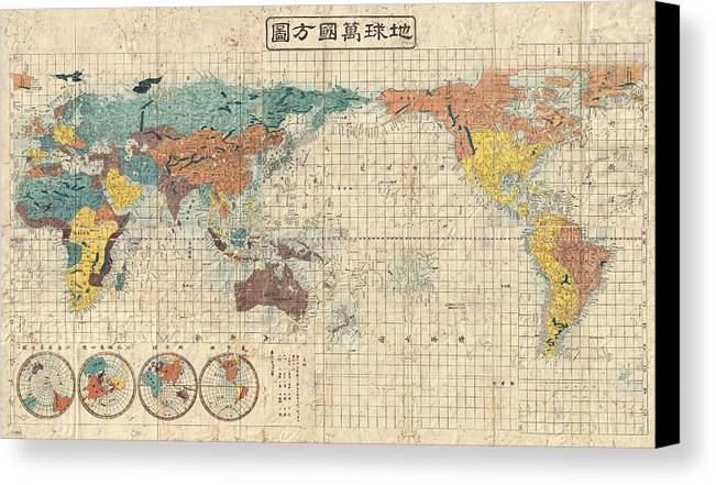 Antique maps old cartographic maps antique japanese map of the antique map of the world canvas print featuring the drawing antique maps old cartographic maps gumiabroncs Images