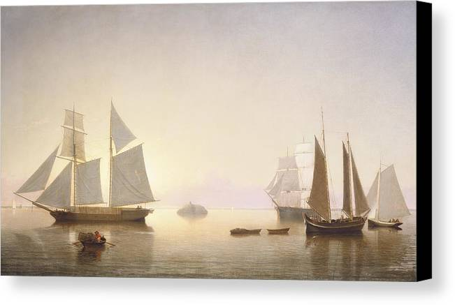Art Canvas Print featuring the painting Becalmed Off Halfway Rock by Fitz Henry Lane