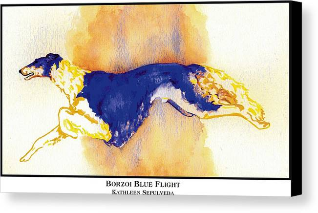 Borzoi Canvas Print featuring the digital art Borzoi Blue Flight by Kathleen Sepulveda