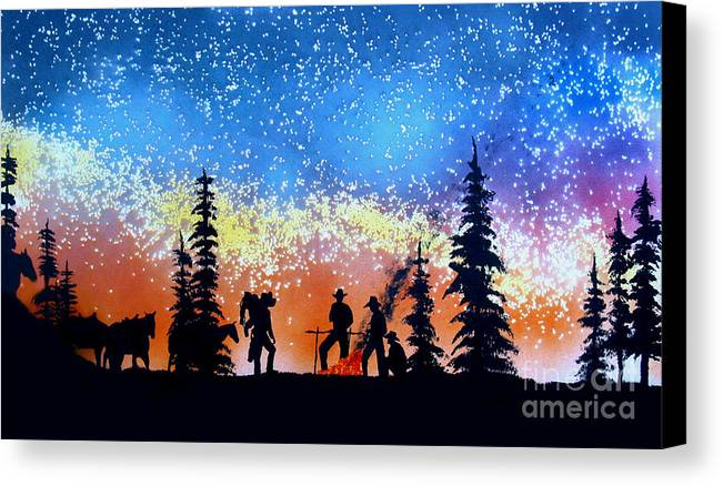 Cowboy Canvas Print featuring the painting Campfire Tales by Ed Moore