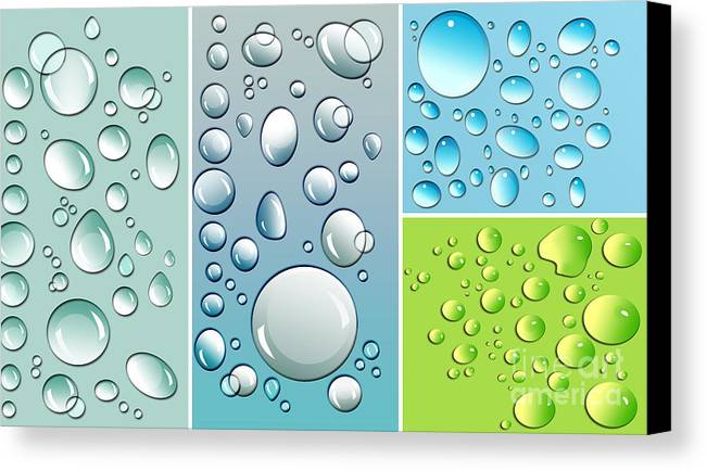 Abstract Canvas Print featuring the digital art Different Size Droplets On Colored Surface by Sandra Cunningham