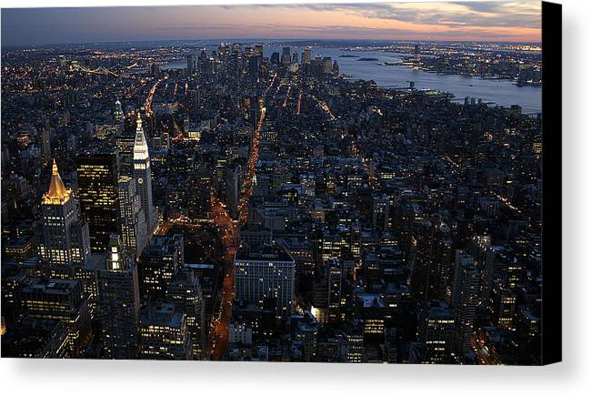 Manhattan Canvas Print featuring the photograph Downtown From Midtown by Joshua Francia