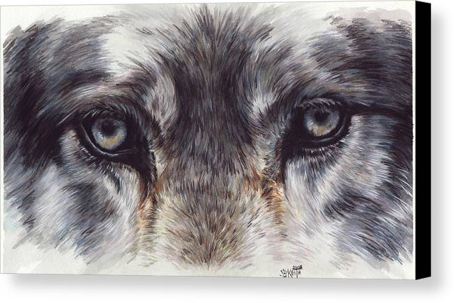 Wolf Canvas Print featuring the painting Eye-catching Wolf by Barbara Keith