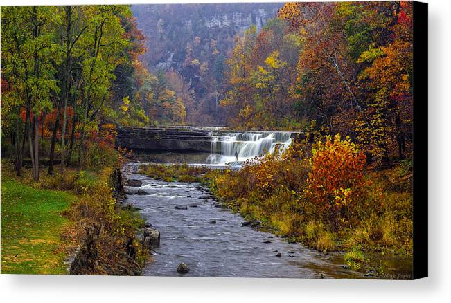 Taughannock Falls State Park Canvas Print featuring the photograph Falls Fishing by Mark Papke