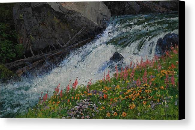 Landscape Canvas Print featuring the painting Fireweed by Lanny Grant