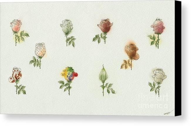 Flowers Roses Garden Love Canvas Print featuring the painting Florentius The Gardener05 by Kestutis Kasparavicius