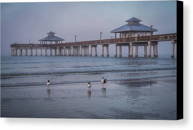 Fort myers beach fishing pier with sea gulls canvas print for Fort myers beach fishing