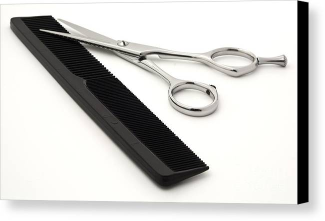 Shears Canvas Print featuring the photograph Hair Scissors And Comb by Blink Images