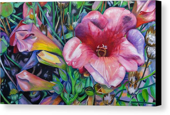 Flowers Canvas Print featuring the painting In The Pink by Jeremy Holton