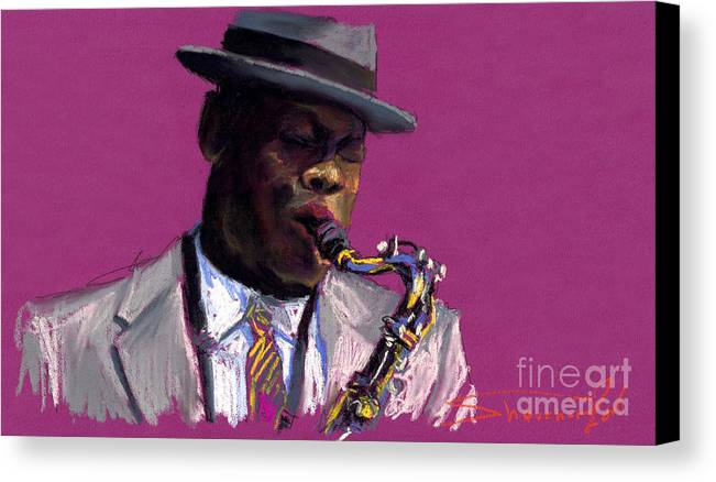 Jazz Canvas Print featuring the painting Jazz Saxophonist by Yuriy Shevchuk