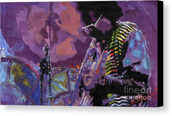 Jazz Canvas Print featuring the painting Jazz.miles Davis.4. by Yuriy Shevchuk