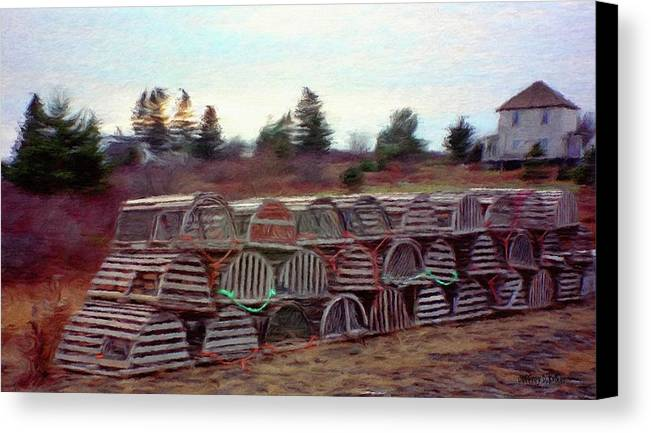 Nova Scotia Canvas Print featuring the painting Lobster Traps by Jeff Kolker