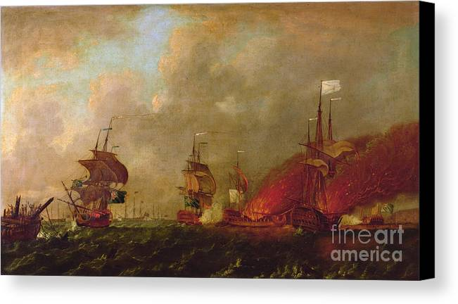 Lord Canvas Print featuring the painting Lord Howe And The Comte Destaing Off Rhode Island by Robert Wilkins