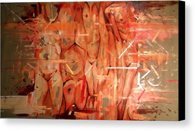 Women Canvas Print featuring the painting Lust II by Flamur Miftari