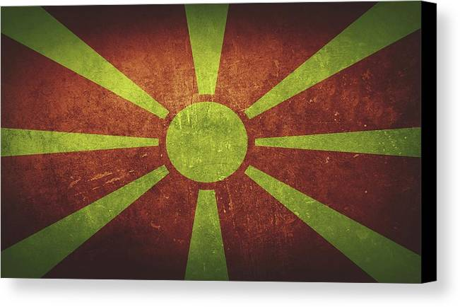 Macedonia Canvas Print featuring the painting Macedonia Distressed Flag Dehner by T Shirts R Us -