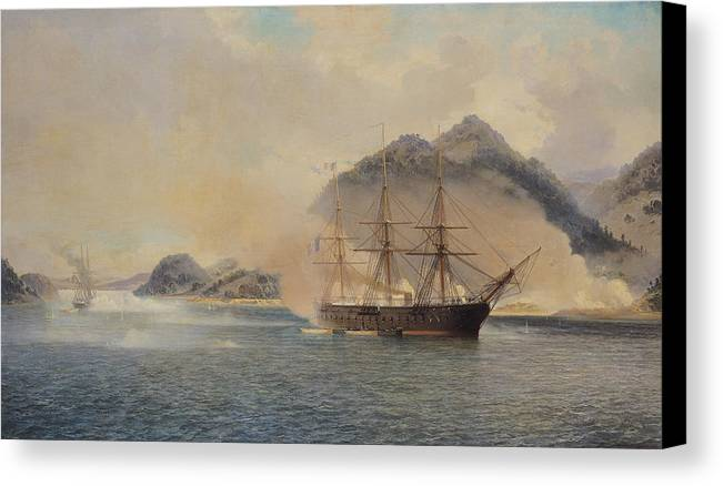 Naval Canvas Print featuring the painting Naval Battle Of The Strait Of Shimonoseki by Jean Baptiste Henri Durand Brager