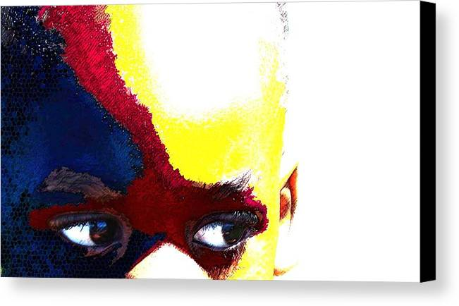 Canvas Print featuring the photograph Painted Face 1 by LeeAnn Alexander