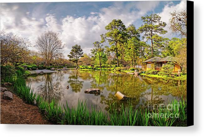 Houston Canvas Print Featuring The Photograph Panorama Of Late Afternoon At  The Houston Japanese Garden In